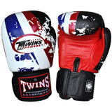 Twins Special Fancy Gloves Velcro Closure Black with White Blue Red Stripe FBGV-44