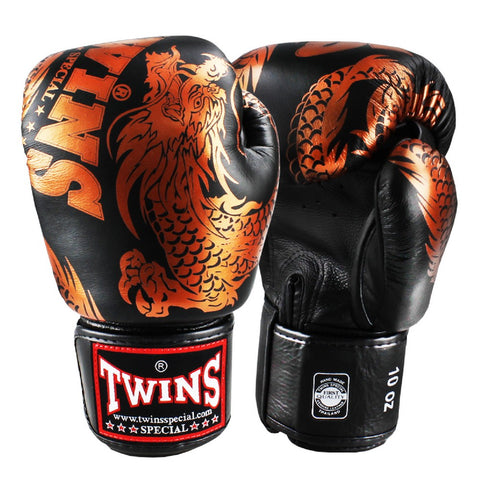 Twins Special Boxing Gloves Flying Dragon Black Copper FBGV-49