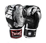 Twins Special Boxing Gloves Flying Dragon Black Silver FBGV-49