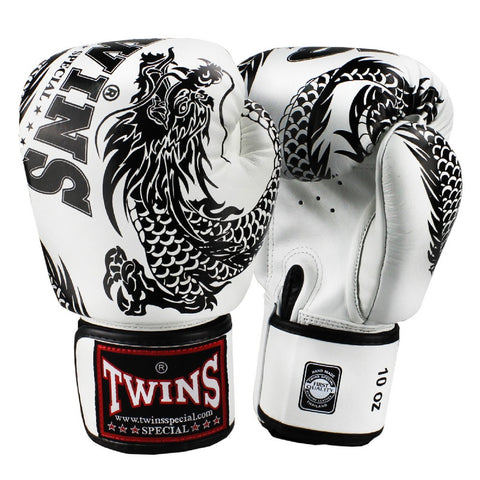 Twins Special Boxing Gloves Flying Dragon White Black FBGV-49