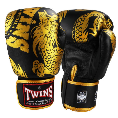 Twins Special Boxing Gloves Flying Dragon Black Gold FBGV-49