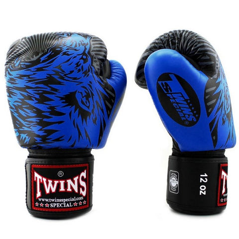 Twins Special Fancy Boxing Gloves Wolf Black Blue FBGV-50