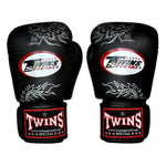 TWINS Fancy Gloves Velcro Closure Black 'Silver Dragon' FBGV-6S