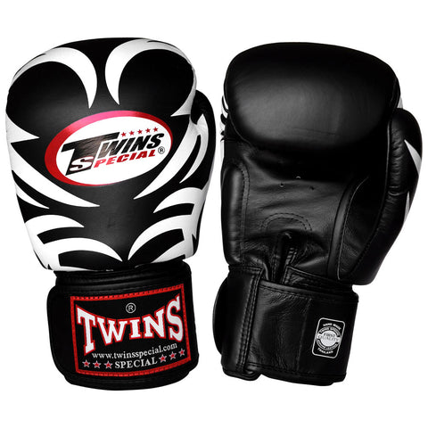 TWINS Fancy Gloves Velcro Closure Black 'Tattoo Pattern' FBGV-9