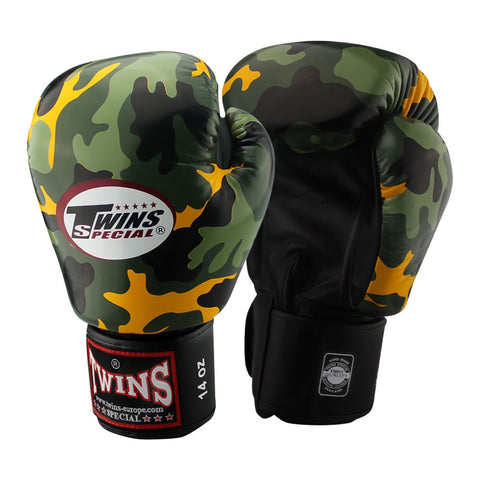 TWINS Special Fancy Boxing Gloves Leather Army FBGV-ARMY-Y