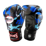 TWINS Special Fancy Boxing Gloves Leather Blue Camouflage Printed FBGV-NB