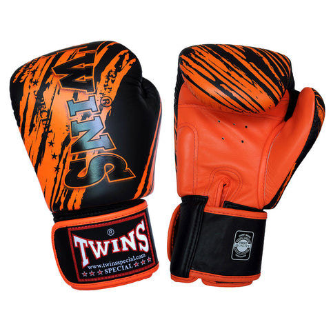TWINS SPECIAL Fancy Boxing Gloves Velcro Premium Leather Black With Orange Graphic Printed FBGV-TW2