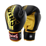 TWINS Special Fancy Boxing Gloves Leather Black Gold FBGV-TW3