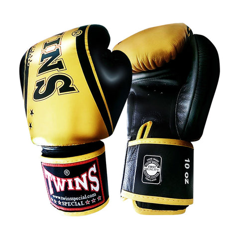 TWINS Special Fancy TW4 Boxing Gloves Leather Black Gold FBGV-TW4