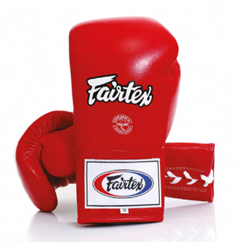Fairtex Pro Fight Lace Up Boxing Gloves Red BGL6