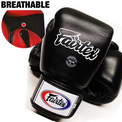 Fairtex Muay Thai Boxing Gloves Breathable Solid Black
