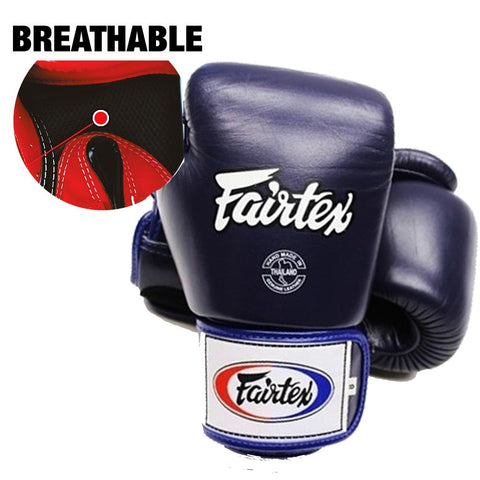 Fairtex Muay Thai Boxing Gloves Breathable Solid Blue BGV1