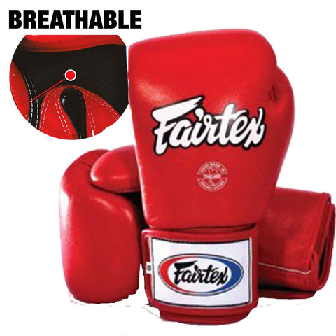 Brand New Fairtex Muay Thai Boxing Gloves Breathable Solid RED BGV1