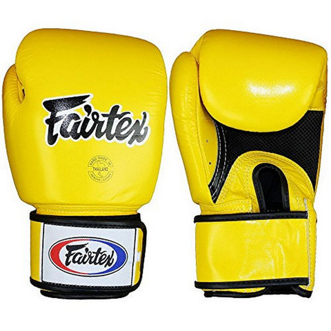 Fairtex Muay Thai Boxing Gloves Breathable Solid Yellow BGV1