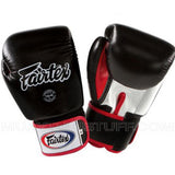 Fairtex Muay Thai Gloves Black with White and Red BGV1