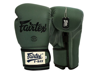 "Fairtex Muay Thai Gloves Green ""F-Day"" Synthetic leather (microfiber) With Box BGV11"