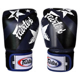 Fairtex Muay Thai Boxing Gloves Nation Print Navy Blue FTX-BGV1-NP