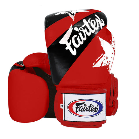 Fairtex Muay Thai Boxing Gloves Nation Print Red FTX-BGV1-NP-RED