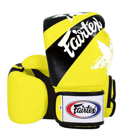 Fairtex Muay Thai Boxing Gloves Nation Print Yellow FTX-BGV1-NP-YLW