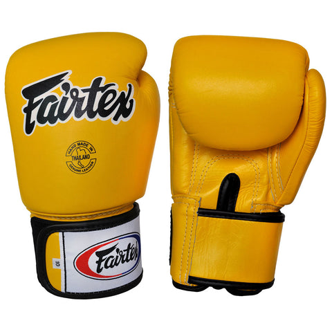 Fairtex Muay Thai Gloves Yellow Leather BGV1