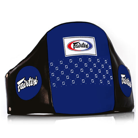 Fairtex Muay Thai Pro Leather Belly Pad Black Blue BPV1
