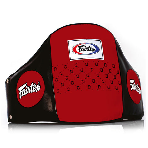 Fairtex Muay Thai Pro Leather Belly Pad Black Red BPV1