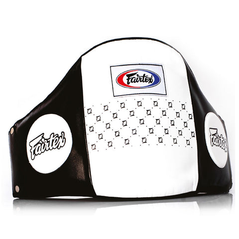 Fairtex Muay Thai Pro Leather Belly Pad Black White BPV1