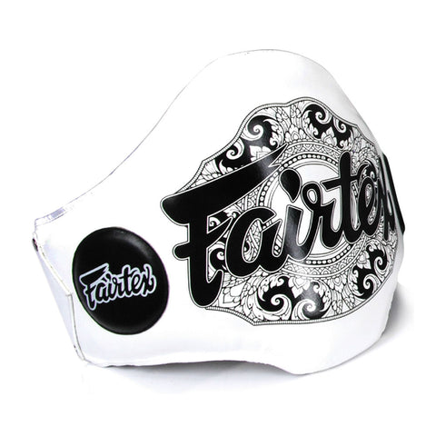 Fairtex The Champion Belt Lightweight Belly Pads White Genuine Leather
