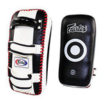 Fairtex KPLC2 : Curved Kick Pads Black White