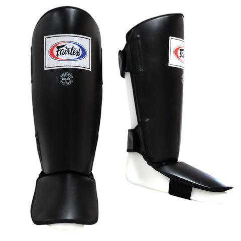 Fairtex Muay Thai Shin Guards Protector In-Step Black Syntek leather SP1