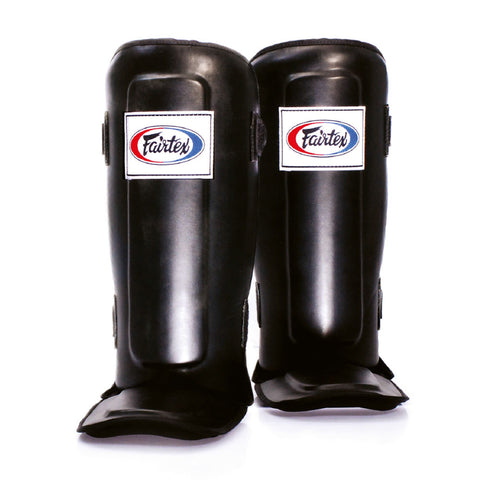 Fairtex Muay Thai Shin Guards  In-Step  Double Padded Black Syntek leatherProtector SP3