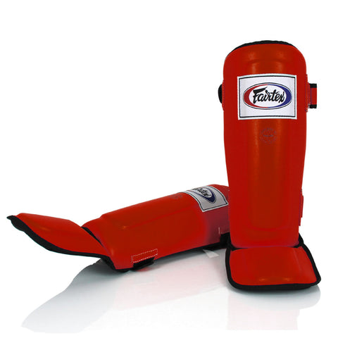 Fairtex Muay Thai Shin Guards  In-Step  Double Padded Red Syntek leatherProtector SP3