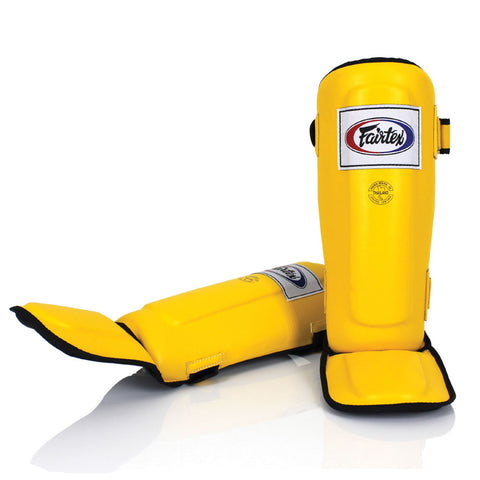 Fairtex Muay Thai Shin Guards  In-Step  Double Padded Yellow Syntek leatherProtector SP3
