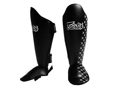 Fairtex Muay Thai Shin Guards Competition Shin Pads Black Syntek Leather SP5