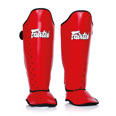 Fairtex Muay Thai Shin Guards Competition Shin Pads Red Syntek Leather SP5
