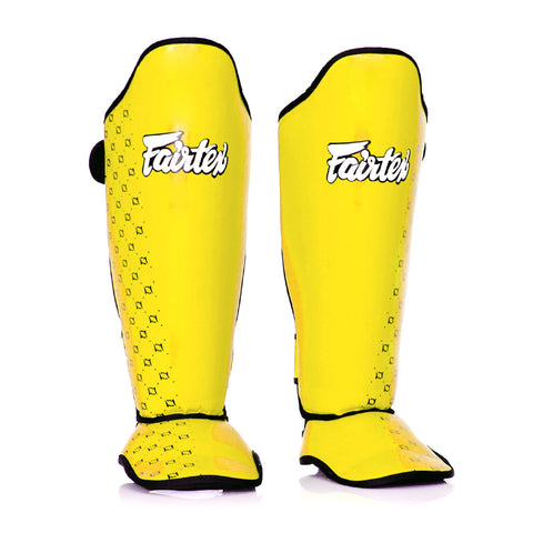 Fairtex Muay Thai Shin Guards Competition Shin Pads Yellow Syntek Leather SP5