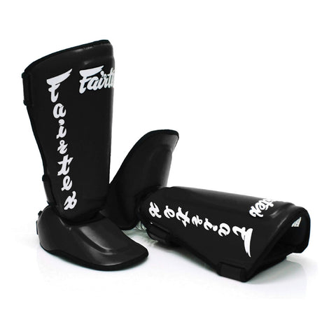 Fairtex Muay Thai Shin Guards Twisted Shin Pads Black Syntek Leather SP7