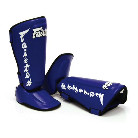 Fairtex Muay Thai Shin Guards Twisted Shin Pads Blue Syntek Leather SP7