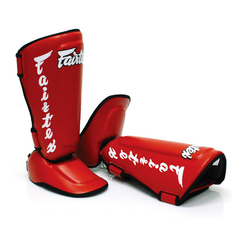 Fairtex Muay Thai Shin Guards Twisted Shin Pads Red Syntek Leather SP7