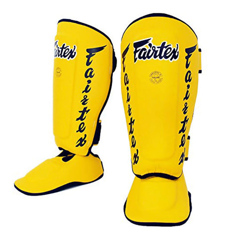 Fairtex Muay Thai Shin Guards Twisted Shin Pads Yellow Syntek Leather SP7