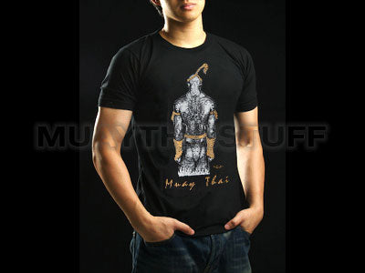 Human Fight MuayThai T-shirts Black with Traditional Muaythai Fighter HFB01