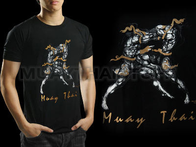 Human Fight MuayThai T-shirts Black Knee Strike HFB04