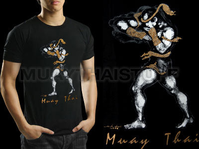 Human Fight MuayThai T-shirts Black Horizontal Elbow HFB06
