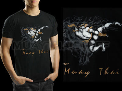 Human Fight MuayThai T-shirts Black Jump Kick HFB07