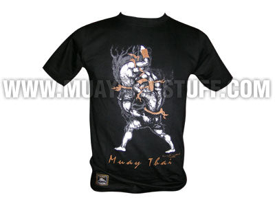 Human Fight MuayThai T-shirts Black Ru See Bod Ya Move HFB10