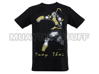 Human Fight MuayThai T-shirts Black Straight Punch HFB12
