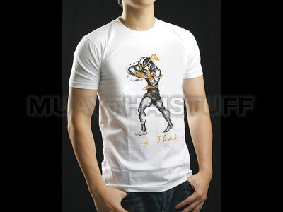 Human Fight MuayThai T-shirts White Horizontal Elbow HFW06