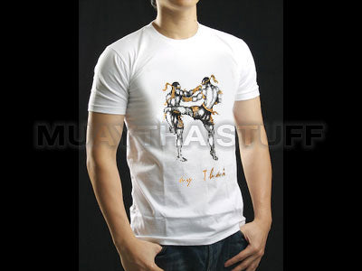 Human Fight MuayThai T-shirts White Muaythai Kick and Guard HFW09