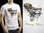 Human Fight MuayThai T-shirts White Flying Move HFW11