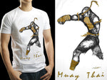 Human Fight MuayThai T-shirts White Straight Punch HFW12